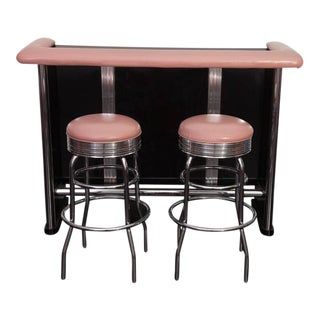 Retro 1960s Chrome Bar With Pink Leather Stools - Set of 2