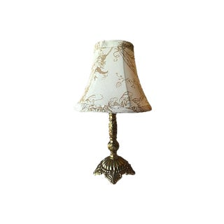 Swedish Gustavian Style Brass Lamp With Cream Floral Shade