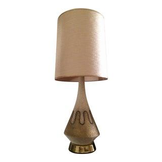 Mid-Century Modern Tall Textured Ceramic Table Lamp