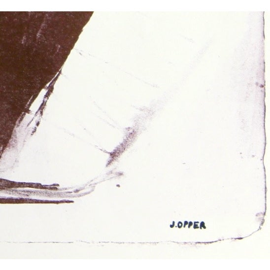 Monochromatic Mid-Century Abstract Lithograph - Image 2 of 3