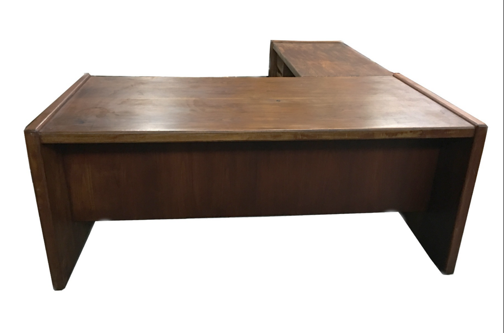 Mid Century Modern Minimalist Wood Desk With Return Chairish