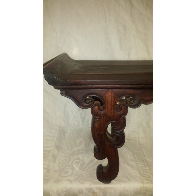 Small Antique Chinese Lacquered Wooden Altar Bench - Image 8 of 11