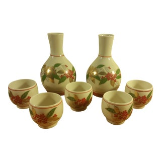 Mini Asian Pitchers and Matching Tea Cups - Set of 7