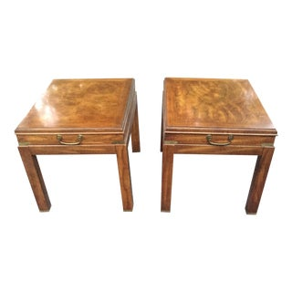 Lane Vintage Wood & Brass End Tables - A Pair