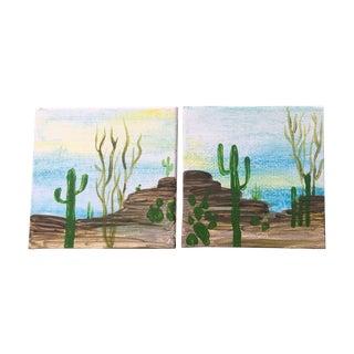 """""""Desert Dwellers"""" Petite Paintings - A Pair"""