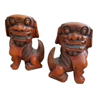 Antique Chinese Wooden Foo Dogs - A Pair