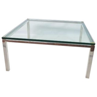 Chrome Steel, Brass & Glass Top Coffee Table