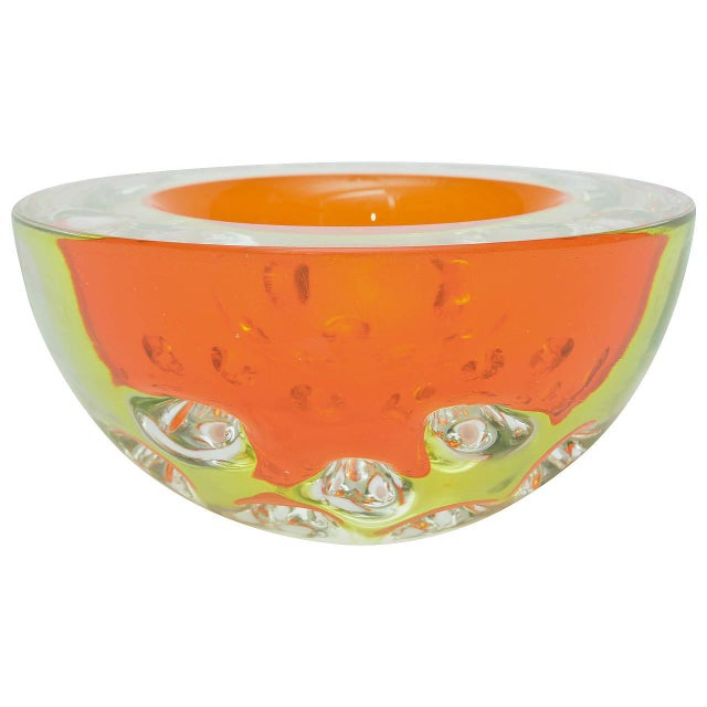 Rare Italian Murano Sommerso Dimpled Geode Glass Bowl - Image 1 of 9