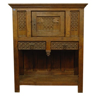 Antique 1800s French Gothic Vestry Cabinet