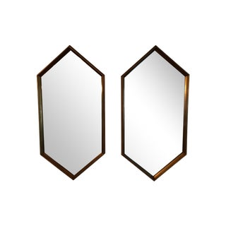 Hollywood Regency Gold Gilt Hexagon Mirrors Pr.