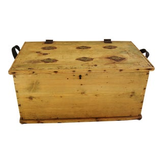 Antique European Primitive Pine & Brass Trunk