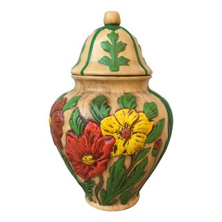 Vintage Floral Handmade Hand Painted Container