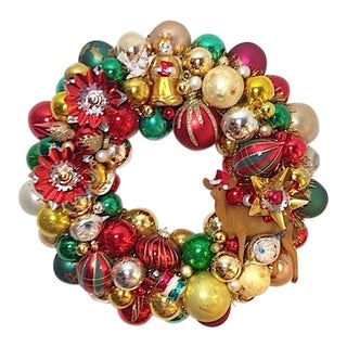 Vintage Handmade Holiday Ornament Wreath