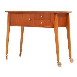 Danish Modern Teak Sewing Table Cart