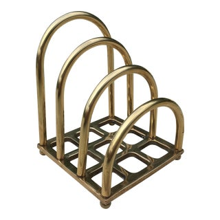 Mid Century Solid Brass Desk Organizer Caddy