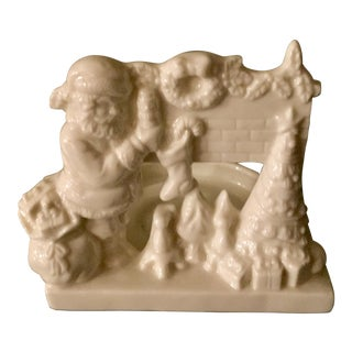 Ivory Porcelain Christmas Fireplace Scene Votive