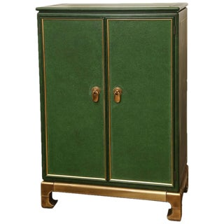 Signed Mastercraft Hollywood Glam Lacquered Brass and Emerald Leather Cabinet