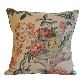 English Floral Printed Cream Linen Pillow