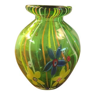 Green Glass Vase With Millefiori Flowers