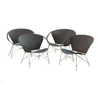 Vintage Yuzuru Yamakawa Rattan Hoop Chairs - Set of 4