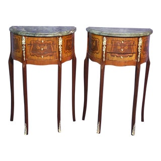 French Louis XV Marble Top End Tables - A Pair