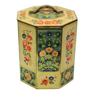 Vintage Octagonal Floral Tin