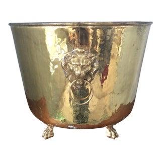 Vintage Polished Brass Lion's Head Planter