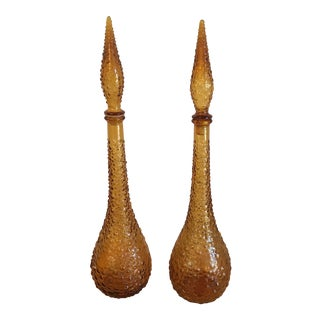 Amber Gold Hobnail Genie Bottles - a Pair