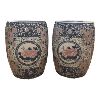 Hand Painted Garden Stools - A Pair