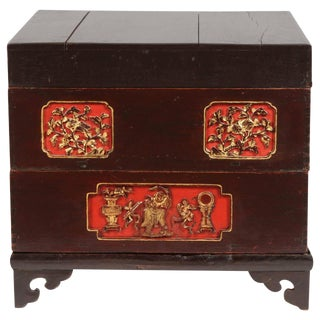 19th Century Chinese Stacking Cake Box with Carving