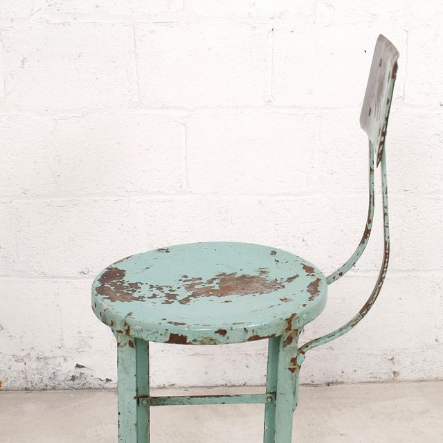 Vintage Industrial Rustic Green Bar Stool - Image 4 of 7
