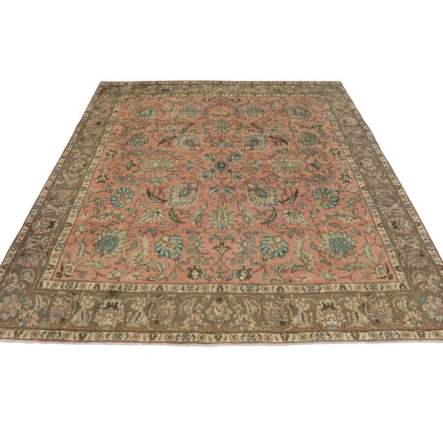 Vintage Persian Traditional Style Tabriz Rug - 10' x 11' - Image 3 of 6