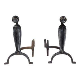 1920s American Patinated Andirons