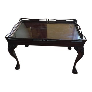 Antique Mahogany Clawfeet Coffee Tray Table