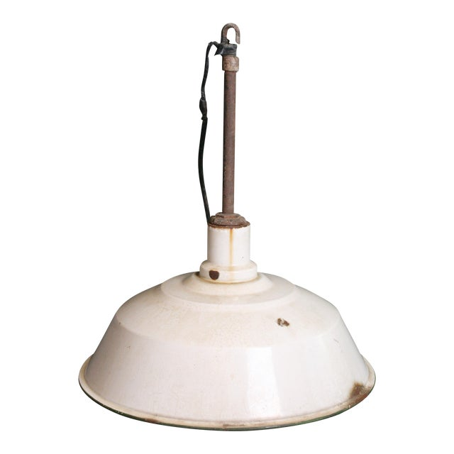 Vintage Industrial White Porcelain Ceiling Light Fixture - Image 1 of 11