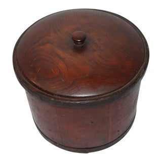 Unusual 19th Century Original Red Painted Storage Box