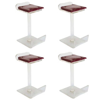 Charles Hollis Jones Style Lucite Bar Stools - Set of 4