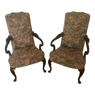 Queen Anne Upholstered Antique Reproduction Chairs - A Pair