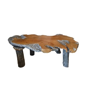 Rustic Natural Edge Teak Slab Coffee Table
