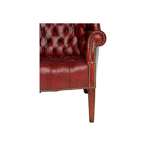 Tufted Leather Wingback Chair - Image 6 of 8