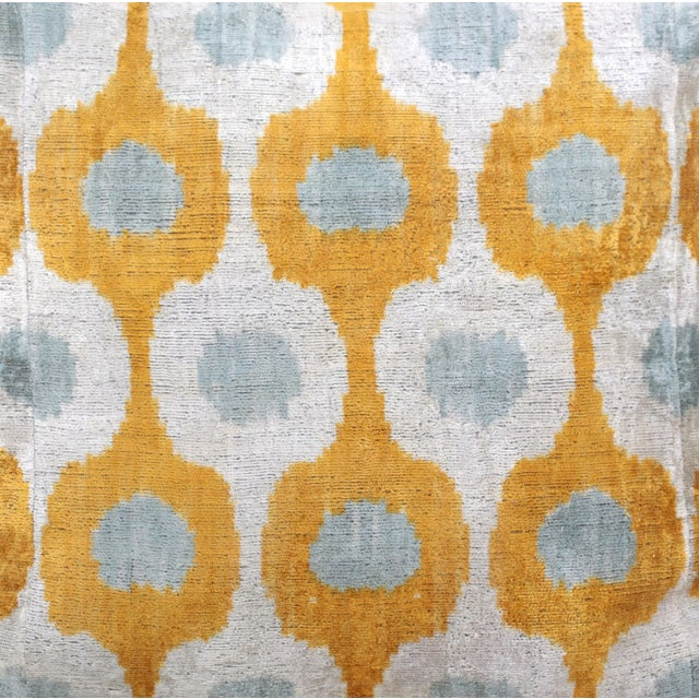 Grey & Mustard Silk Velvet Pillows - A Pair - Image 2 of 3
