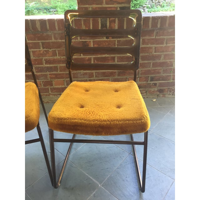Mid-Century Chrome Craft Amber Lucite & Orange Chairs - A Pair - Image 9 of 10