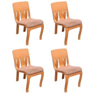 Thonet Bent Plywood Chairs, Set of 4