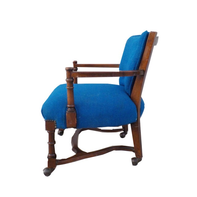Hollywood Regency Wood Desk Chair with Caning - Image 3 of 6