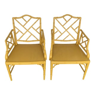 Chinese Hollywood Regency Faux Bamboo Armchairs Chais - A Pair
