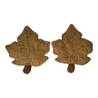 Vintage Horsehair Felt Leaf Pot Holders - a Pair