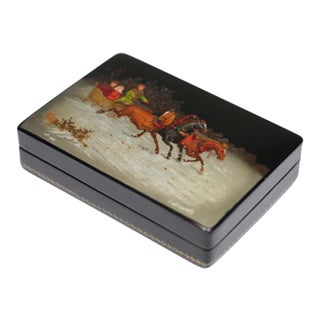 Hand-Painted Lacquered Box from the U.S.S.R. Signed by Artist, circa 1970-1980