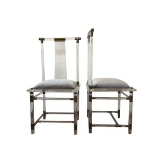 Vintage Lucite and Brass Side Chairs - Pair