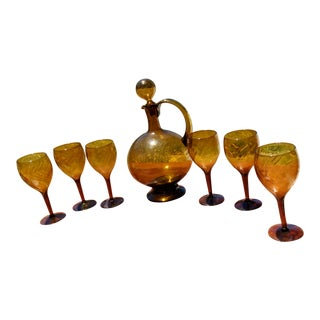 Vintage Amber Glass Decanter & Glasses - Set of 7