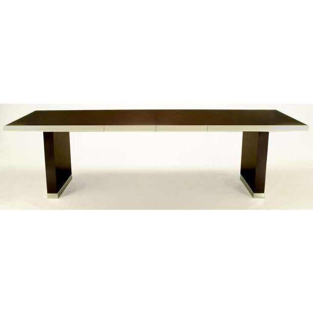 Pierre Cardin Chrome & Dark Chocolate Brown Dining Table - Image 2 of 7
